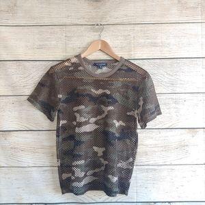 💟5/$25 One Clothing Mesh Net Camo Short Sleeve
